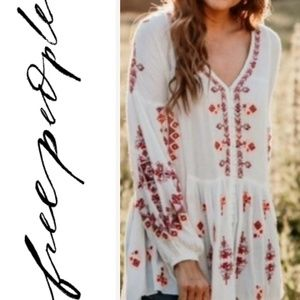 "NWT Free People ""Arianna"" Embroided Peasent Blouse"